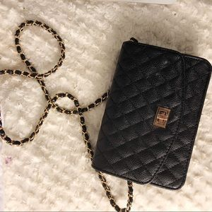 Urban Outfitters black crossbody bag w/ gold chain